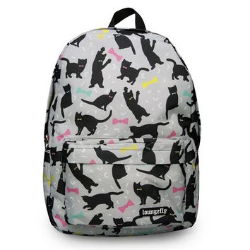 """Cats and Bows"" Backpack by Loungefly (Grey/Multi)"