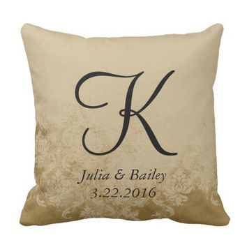 Cream Damask Personalized Wedding Pillow