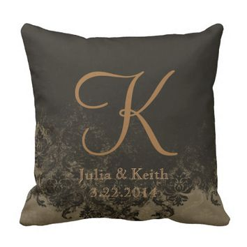 Chocolate Damask Personalized Wedding Pillow