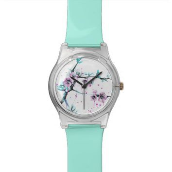 Spring flowers blossoms pink Watch