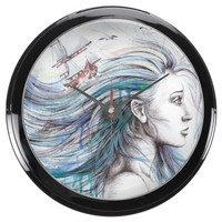 """Oceans"" Girl surreal original art Aqua clock"