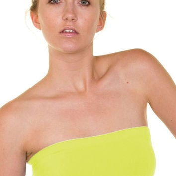 Essential Seamless Bandeau Tube Top (Neon Yellow) | Verona