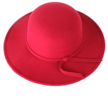 A wide brim felt floppy hat featuring a tied knot accent.