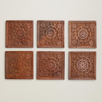 Square Carved Wood Coasters, Set of 6 - World Market