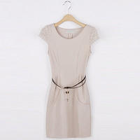 Off-white Day Dress - Slim small fresh dress Beige | UsTrendy
