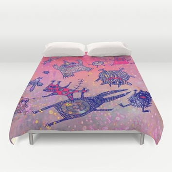 levitating monsters Duvet Cover by Marianna Tankelevich | Society6