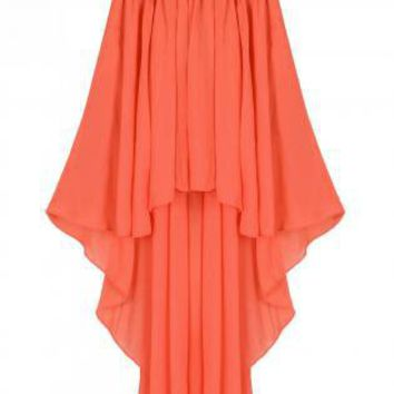 Orange Long Skirt - Orange Asymmetric Hem Skirt | UsTrendy