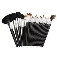 Ovonni® 24pcs Professional Black Makeup Brush Set with Black Roll Case