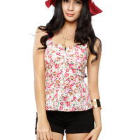 Papaya Clothing Online :: FLORAL FRONT ZIPPER PEPLUM TOP