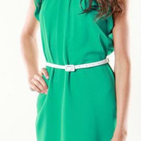 Green Mini Dress - Belted Jackie O Chic Dress | UsTrendy