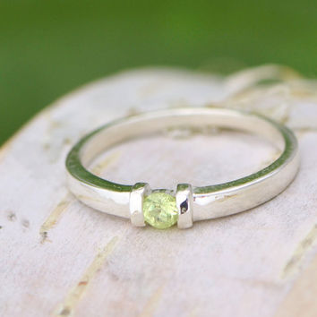 Christmas In July Peridot Stacker Ring - Sterling Silver Ring - Gemstone Jewelry - Green Gemstone - August Birthstone Ring - Peridot