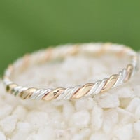 Christmas In July Two Toned Twist Ring - Stacker Ring -  Twist Ring - Thumb Ring - Gold Filled - Argentium Sterling Silver