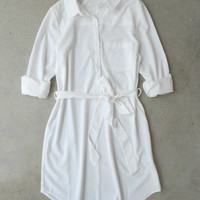 Burrows Shirtdress in White [5855] - $34.00 : Vintage Inspired Clothing & Affordable Dresses, deloom | Modern. Vintage. Crafted.