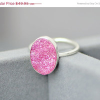 Christmas In July Pink Druzy Ring - Druzy Ring - Druzy Quartz Jewelry - Oval Druzy -Pink Jewelry - Pink Ring - Handmade