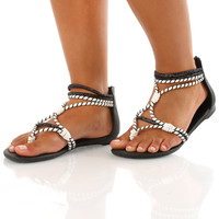 Walk This Rope Sandals: Black/White