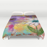 Single Flower Abstract Duvet Cover by kathleentennant