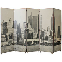 Vintage Manhattan Skyline Folding Screen