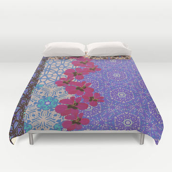 Blue Floral Duvet Cover by k_c_s | Society6