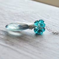Teal Blue Necklace Sterling Silver Quartz Gemstones by starletta