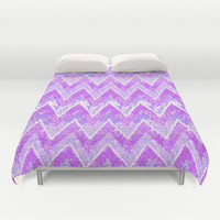 purple snow chevron Duvet Cover by Marianna Tankelevich | Society6