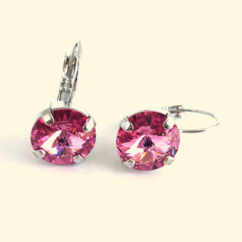 Swarovski crystal earrings, 10.5mm drop lever backs, rose, GREAT PRICE,  pink earrings, Siggy bling, designer inspired