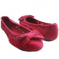 CROCHET BOW FLAT-Flats-Women Flats,flat dress shoes,Ballet Flats,Flat Designer Shoes,Flat shoes,Ladies Flat Shoes,Flat Sandals,Discount Flats,Cheap Flats,Sneaker Shoes,flat bridal shoes