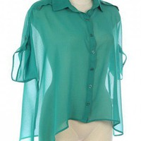 CHIFFON CHIC TAB SLEEVE BUTTON DOWN SHIRT-Casual Tops-Casual Tops,Cute Casual Tops,trendy casual tops,Women's Casual Tops,Ladies Casual Tops,long casual tops,casual knit top