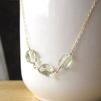 Refreshing Mint Green Amethyst Nuggets Gold Necklace  by Yameyu