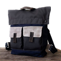 BLUE, Canvas handmade men's BACKPACK, Canvas Leather Bags, Rucksack, Back to School