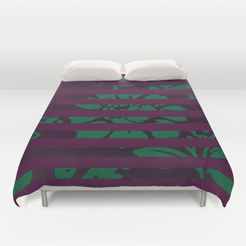 FLORAL STRIPES Duvet Cover by Nika