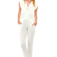 Carrol Lapel Sleevless Jumpsuit in White