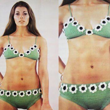 Vintage Bikini Swimwear Bathing Suit PDF Instant Download crochet Vintage pattern crochet knitted supplies epsteam Green knitting pattern