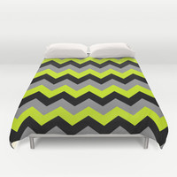 Chevron Silver Lime Duvet Cover by Alice Gosling | Society6