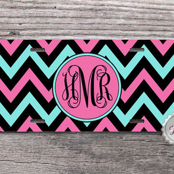 License Plate - Black, Fuchsia and Tiffany blue chevron, monogrammed metal car tag -150