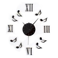Novelty DIY Musical Notes Mute Quartz Wall Clock Wall Decor (Black)