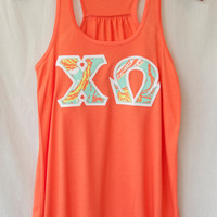Coral Tank With Lilly Print On White