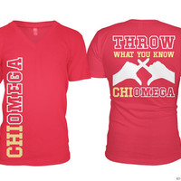 ChiO Chi Omega Throw What You Know Vneck Sorority Tee Tshirt