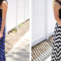 Solid Tank Chevron Maxi Dress