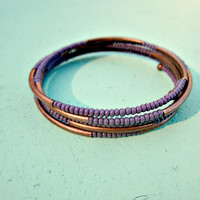 Purple Glass and Rustic Copper Beaded Adjustable Memory Wire Cuff Bracelet: Sun Halo