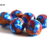 Blue Flowers on Red Beads Handmade Polymer Clay Jewelry Making Beads