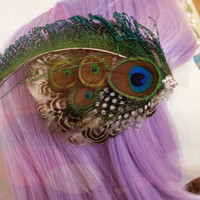 Peacock Feather Headband / Great Gatsby / Art Deco / flapper / 1920s / feather fascinator / wedding hair accessory