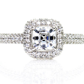 Asscher White Sapphire Engagement Ring Pave Diamond Halo Sapphire Ring Wedding Ring Custom Bridal Jewelry