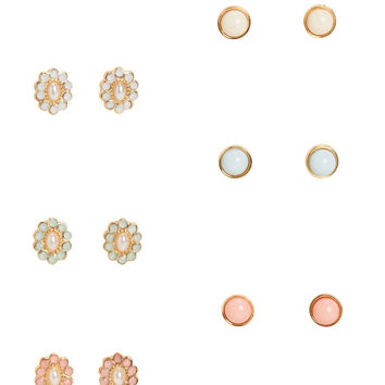 Floral & Dome Stud Earring 6-Pack