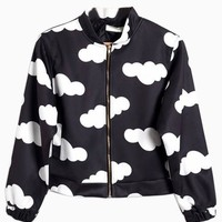 Black Bomber Coat With Cloud Print - Choies.com