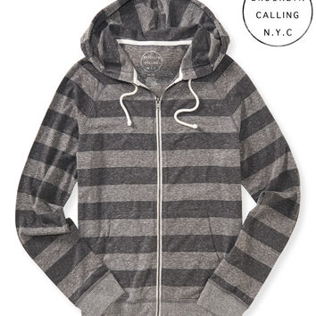 Brooklyn Calling Stiped Full-Zip Hoodie