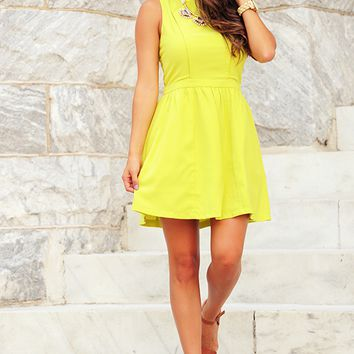 Moving On Dress: Chartreuse