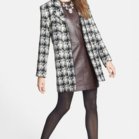 Asymmetrical Zip Plaid Tweed Coat