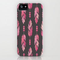 Painted Feathers in a Row-Gray iPhone & iPod Case by Bohemian Gypsy Jane | Society6