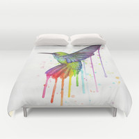 Hummingbird Rainbow Watercolor  Duvet Cover by Olechka
