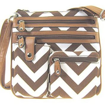 Small Chevron Print Hipster Messenger Bag Cross Body Purse